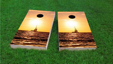 Ocean Sailboat Themed 2x4 Custom Cornhole Board Set w/Bags