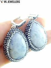 TURKISH OTTOMAN HANDMADE DRUZY JEWELRY 925 STERLING SILVER MOONSTONE EARRINGS 33