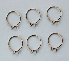 GOLD PLATED ROUND CIRCLE EARRING WIRES EAR WIRE 3 PAIRS 14mm