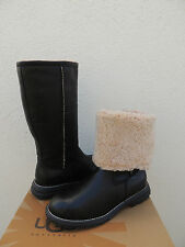 UGG BROOKS TALL BLACK LEATHER/ SHEARLING LINED WINTER BOOTS, US 9/ EUR 40 ~ NEW