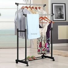 New Double Rolling Rail Adjustable Portable Clothes Garment Rack Hanger