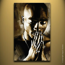 "TUPAC 2pac Original US Artist Signed print CANVAS POP ART PAINTING Large 30""x18"""