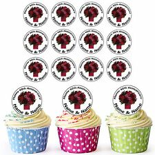 40th Anniversary 30 Personalised Pre-Cut Edible Cupcake Toppers Ruby Flowers