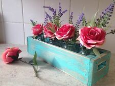 Wooden Window Box Herb  Flower Planter Vintage Style Blue Indoor/outdoor Display