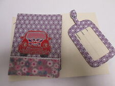 Purple Car Design Passport Holder Wallet Case with Travel Bag Case Tag #8F25