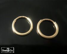 1 x Pair of 14ct Gold Filled 10mm Tube Hoop Sleeper Earrings - Hoops Earrings