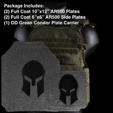 AR500 Body Armor | Level III Front, Back and Side Plates + Green Plate Carrier