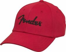 Genuine Fender Logo Red Stretch Cap Ballcap Hat Small-Medium S/M #9106000309
