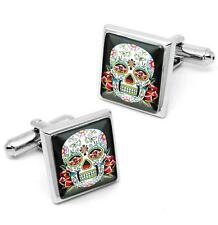 Day of the Dead Sugar Skull Tattoo Silver Glass Halloween Cufflink Set w/ Box