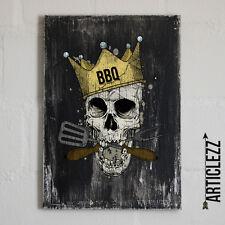 Vintage Holzschild - BBQ GRILL SKULL - Shabby Totenkopf Geschenk grillen Fun