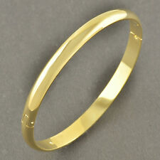 Simple 9K Yellow Gold Filled Women's Smooth Bangle Bracelet Size:60*6mm