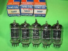 Lot Of 5 Tung-Sol 5687 Black Plate Tubes TV7 Tested