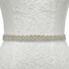 Satin Bridal Sash w/ Beaded Crystal Rhinestone Wedding Dresses Sash Belt
