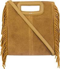 NWOT Maje The M Fringed Suede Shoulder Bag cross body brown handbag purse $315