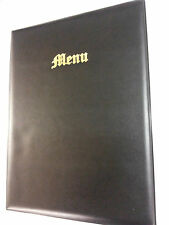 TOP QUALITY A4 MENU FOLDERS IN BLACK LEATHER LOOK PVC - OLD ENGLISH LOOK