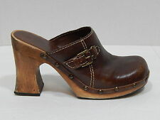Mia Brown Leather Wood Heel Platform Wedge Clogs Size 7M Made in Brazil