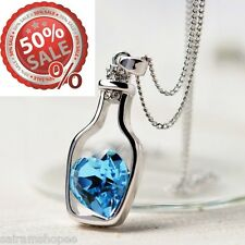 Women Valentine birthday gifts Love Drift Bottle Pendant sapphire heart Necklace
