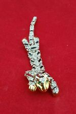 PANTHER LEOPARD CAT RHINESTONE OVER THE SHOULDER BROOCH Pin