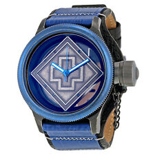 Invicta Russian Diver Distressed Black and See-thru Dial Blue and Black Leather