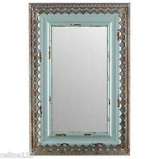 "Large 30"" Distressed Blue Wood & Metal Mirror Home Wall Decor Shabby Chic NEW."