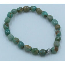 .925 Sterling Silver Natural Green Kingman Turquoise Nugget Stretch Bracelet