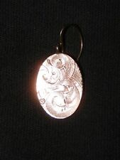 Antique Victorian Gold Plate Hand Egraved Etched Single Earring or Charm Pendant