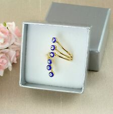 18K Gold Plated Blue Glass Evil Eye Ring Size J, K  - Gift Boxed