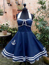 50er Petticoat Rockabilly Sailor Marine Nautic Kleid Kleid Dress 34-54 nach Maß