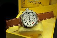 18991 Invicta Men Corduba Edge Quartz Chronograph White Dial Leather Strap Watch