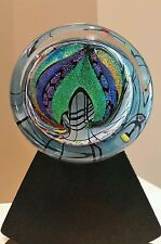 Rollin Karg Signed Dichroic Art Glass Satellite Disc Sculpture with Stand