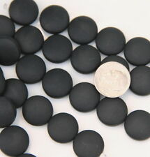 Sea Glass Round Puff Coin  Beads~Jet Black ~ 6 beads~15 mm ~