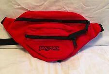 JanSport Fanny Pack Waist Hiking Day Crossbody Red Black 2 Zipper Pockets NWOT
