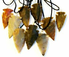 """5 Hand Knapped  Agate Arrowheads on a  22"""" 1mm Leather Necklace Cord"""