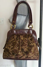 Poetry of London Brown Velvet Beaded Real Leather Boho Handbag Bag Bnip
