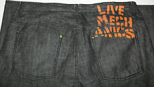 Live Mechanics Black Denim Jeans Urban Hip Hop Baggy Jeans 45x35 Black Stitch
