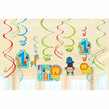 12 Wild Fun To Be One Blue Boy's 1st Birthday Party Hanging Swirl Decorations