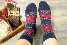 Ladies Women Warm Soft Wool Christmas Snowflake Deer Long Thick Winter Socks