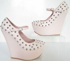 SHUSOLE SIZE 6 WOMENS PINK SILVER STUDS MARY JANE COURT SHOES WEDGES PLATFORMS