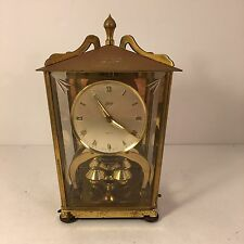 Vtg Schatz 400 Day Brass Mantel Clock Beveld Glass Germany for Parts or Repair
