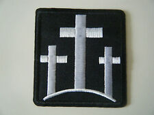 THREE CROSSES PATCH Iron On Christian Biker Motorcycle Crucifix Cross Badge NEW
