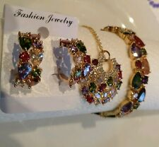 Gold Plated Multicolor crystal with AAA CZ  Bracelet Pendant earrings bridal set