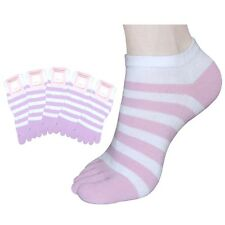 "5 Pair Lot Womens Striped Low-Cut Toe Socks ""Skin contact surface is 100% cotton"