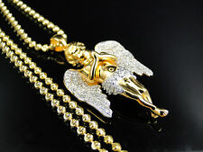Sterling Silver Ascending Angel Lab Diamond Pendant & Chain Yellow Gold Finish