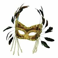 Gold Feather Eye Mask Face Mask Masquerade Halloween Fancy Dress