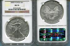 2008-W  burnished  SILVER EAGLE - NGC MS70