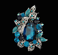 Dazzling Large Blue Rhinestone Crystal White Gold Brooch Pin Oval Center Stone