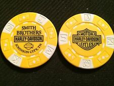 "Harley Davidson Poker Chip (Yellow & White ""BAR & SHIELD"") ""Smith Brothers"" TN"