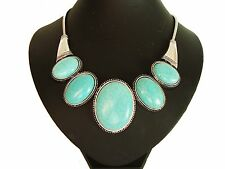 Stunning Chunky Turquoise Stones Silver STaTeMenT Necklace LaGeNlooK JeWelleRy