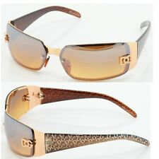 Women DG Sunglasses Eye-wear Rectangular Rimless Wrap Shades Gold Brown 5024 bi