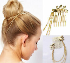 Gold Metal Women Fashion Tassel Leaf Comb Cuff Chain Jewelry Headband Hair Band